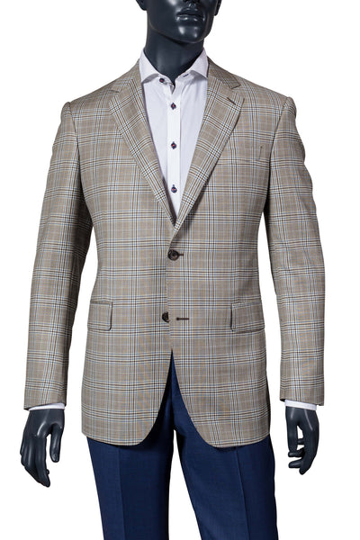 Men's beige with navy plaid sport coat. Vancouver men's fashion