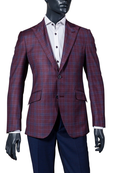 Men's Coppley burgundy with blue plaid sport coat