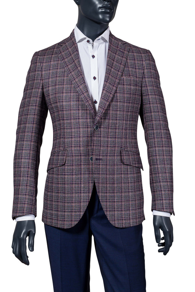 Men's Boucle Sport Coat | Navy, White, Pink, Purple