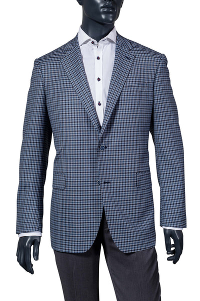 Men's Blue Gingham Sport Coat. Vancouver Men's Fashion