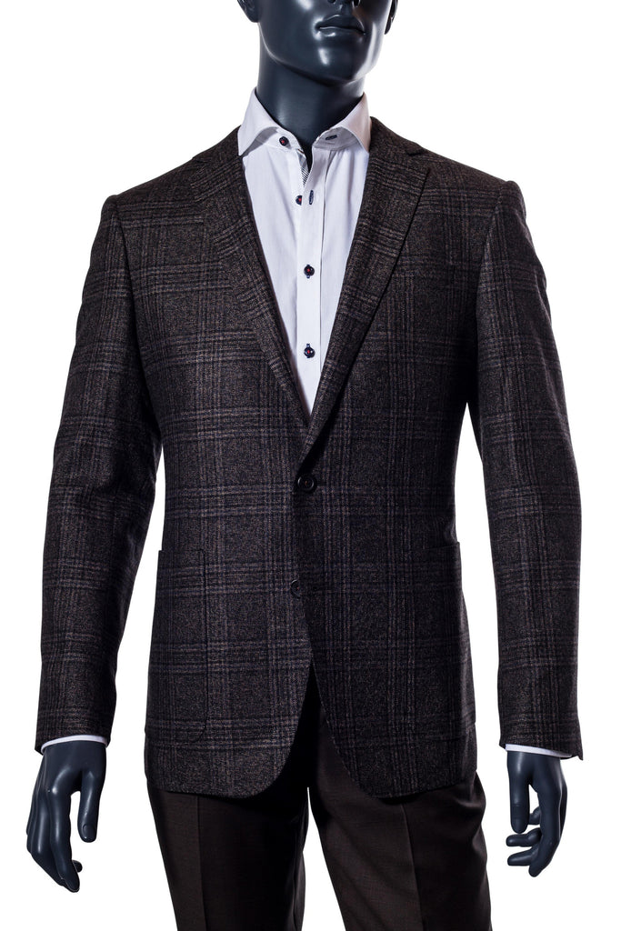 Charcoal Brown Plaid Sport Coat