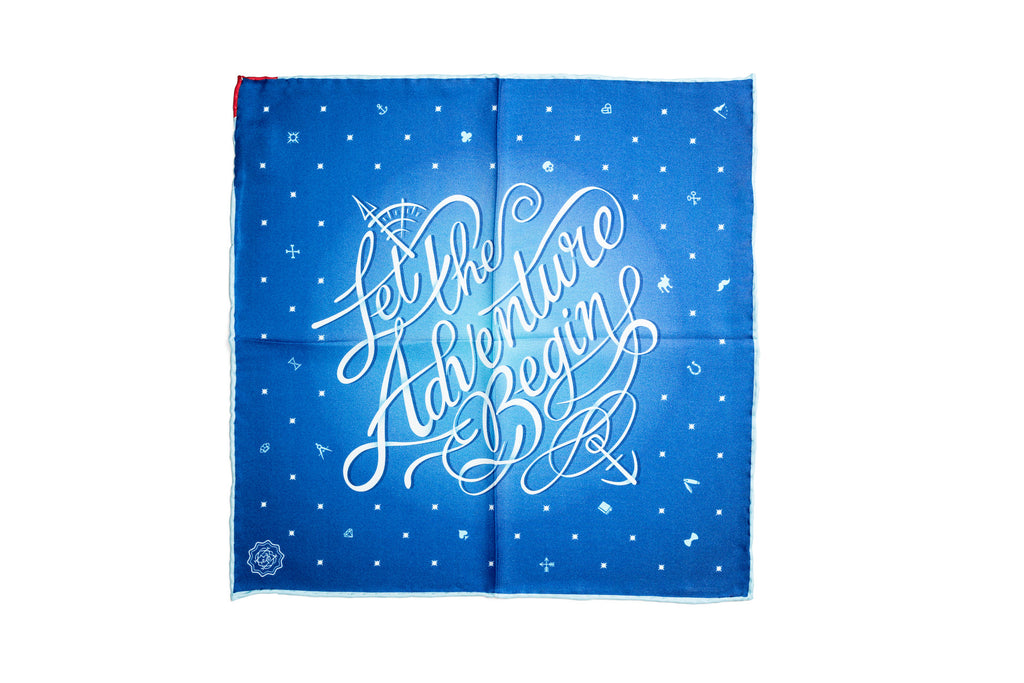 """Let the Adventure Begin"" Silk Pocket Square"