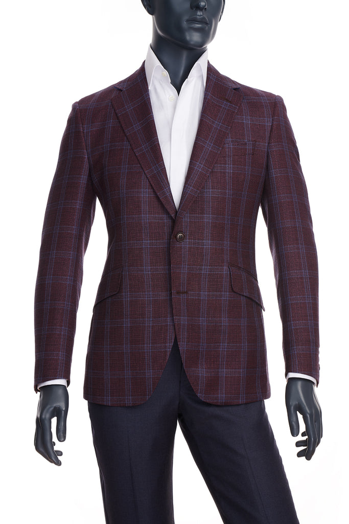 Burgundy w/Blue Plaid Sport Coat