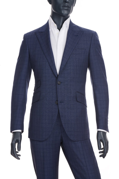 Men's Mid-Blue Windowpane Suit | Coppley | Haberdasher & Co. | Vancouver, BC
