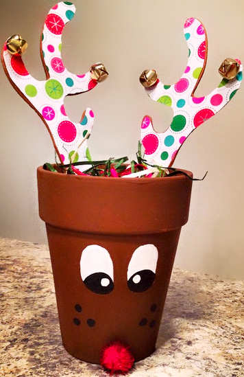 Flower pot turned reindeer
