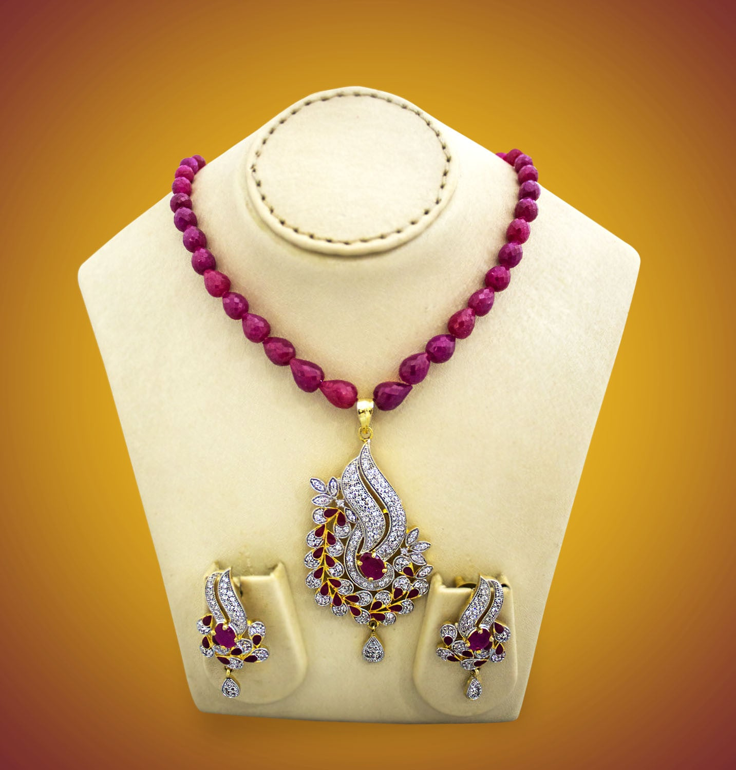 Treated ruby gemstone necklace with stone pendants and earrings treated ruby gemstone necklace with stone pendants and earrings aloadofball Images