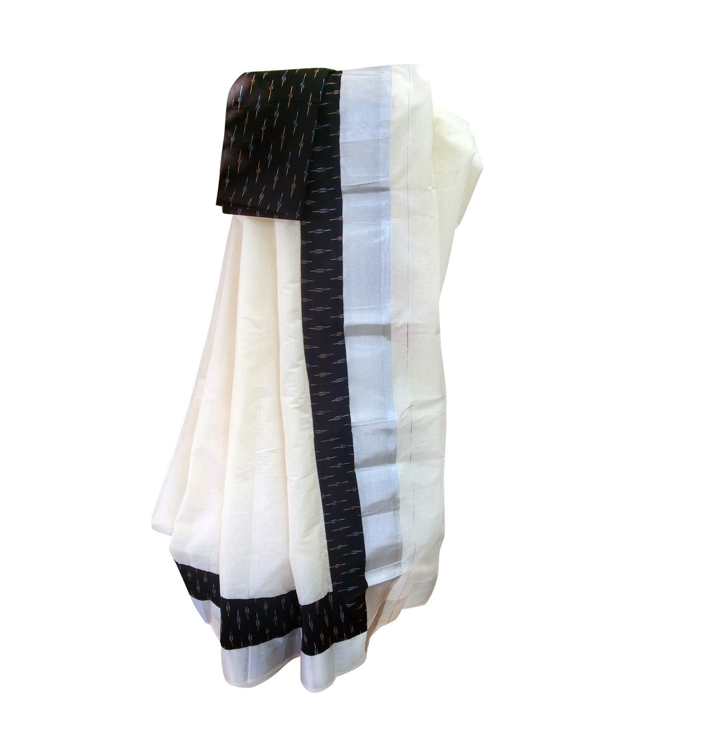916d522a127 Kerala Saree with Ikat Print and Silver Border Online - DevotionalStore