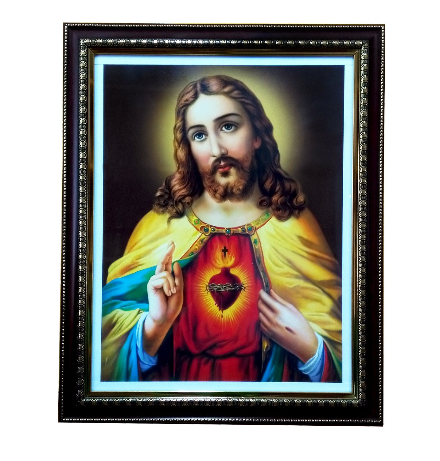 christ jesus with glass picture frame