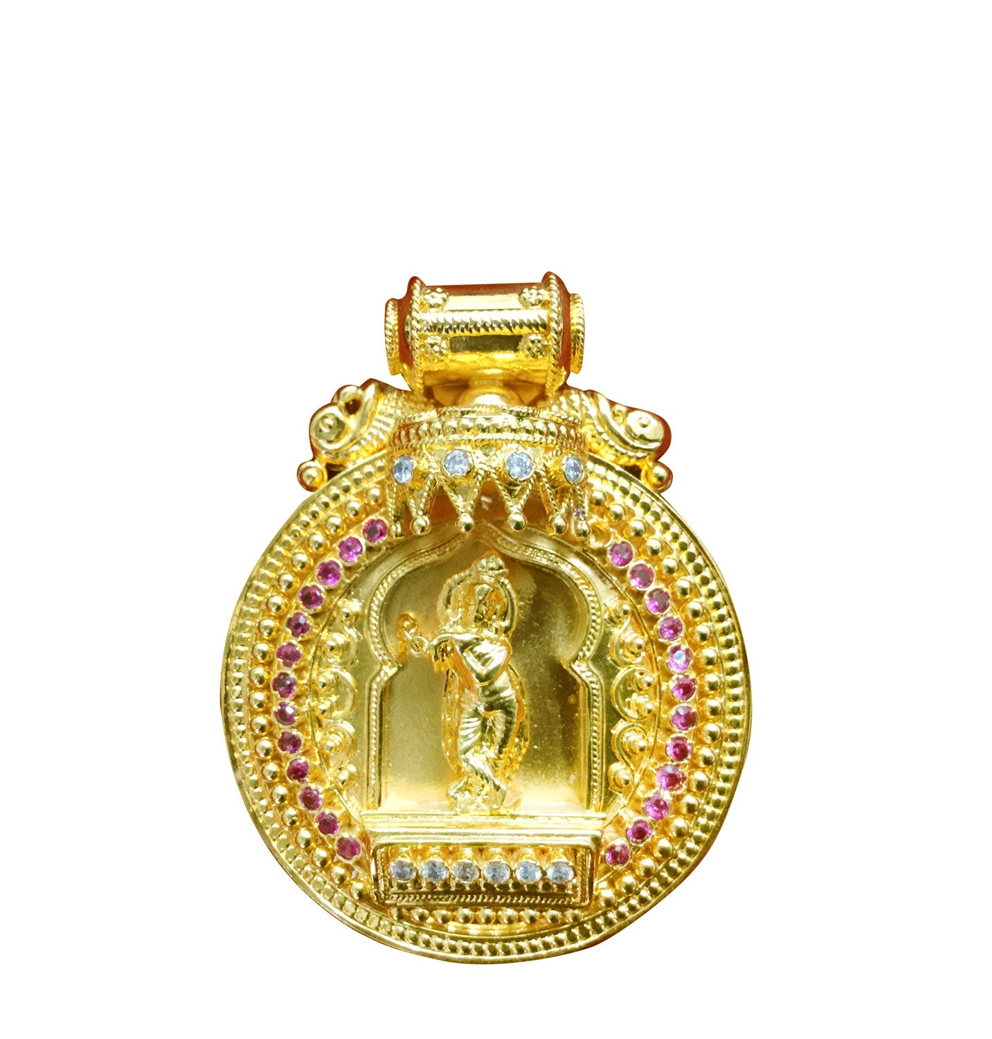 Krishna round gold pendant online devotionalstore krishna round 1 gram gold plated pendant mozeypictures Image collections