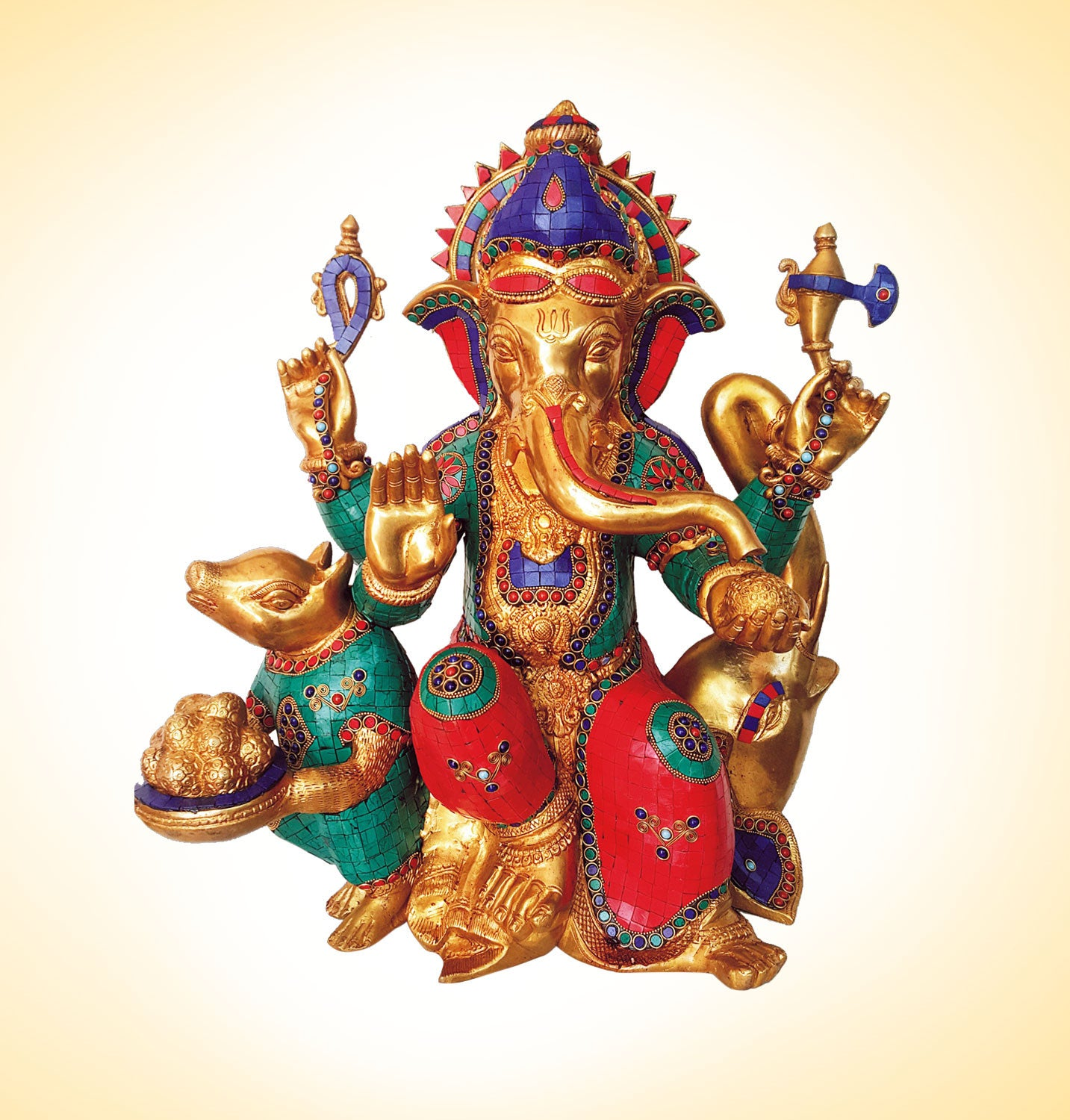 Lord Ganesha With Mouse Idol