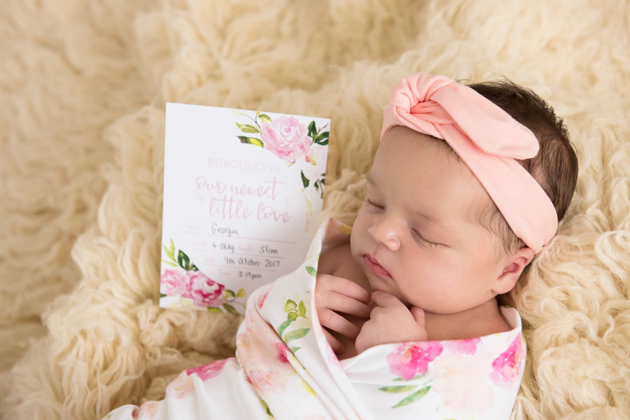 Birth Announcement Card |  Luxe Collection |  Hunny Blossom Stylish Baby Milestone Cards + Baby Announcement Baby Wraps + swaddles - - AfterPay - Free Shipping - lovepaperink.com.au