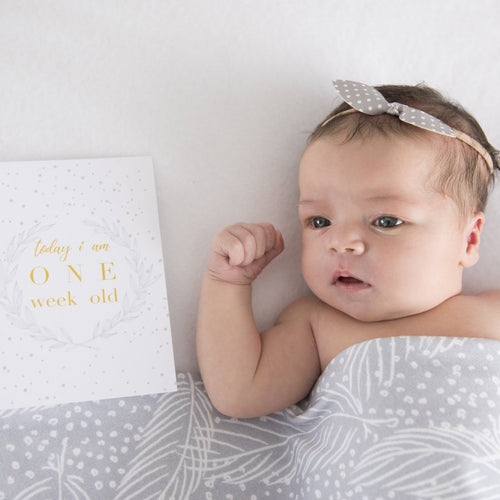 Matching Baby Wrap + Milestone Cards Set   |   Winter Snowflake Stylish Baby Milestone Cards + Baby Announcement Baby Wraps + swaddles - - AfterPay - Free Shipping - lovepaperink.com.au