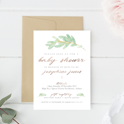 Invitations // Digital Printable // Willow Rose Stylish Baby Milestone Cards + Baby Announcement Baby Wraps + swaddles - - AfterPay - Free Shipping - lovepaperink.com.au