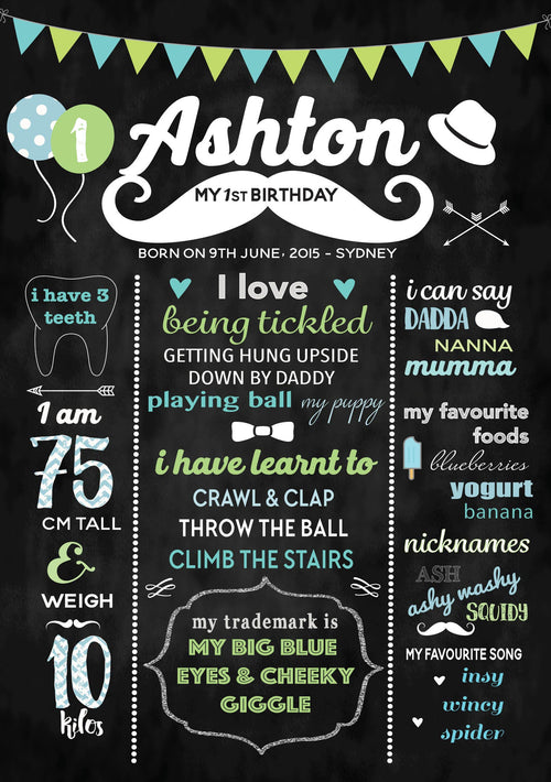 Little Man Moustache - Personalised Birthday Chalkboard Stylish Baby Milestone Cards + Baby Announcement Baby Wraps + swaddles - - AfterPay - Free Shipping - lovepaperink.com.au