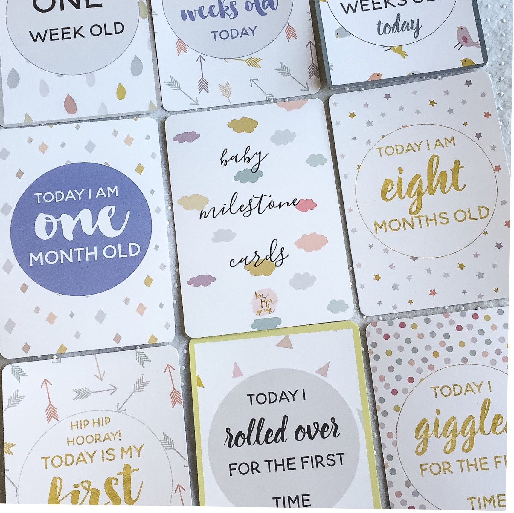 Baby Milestone Cards |  Classic Collection |  Pastel Skies Stylish Baby Milestone Cards + Baby Announcement Baby Wraps + swaddles - - AfterPay - Free Shipping - lovepaperink.com.au