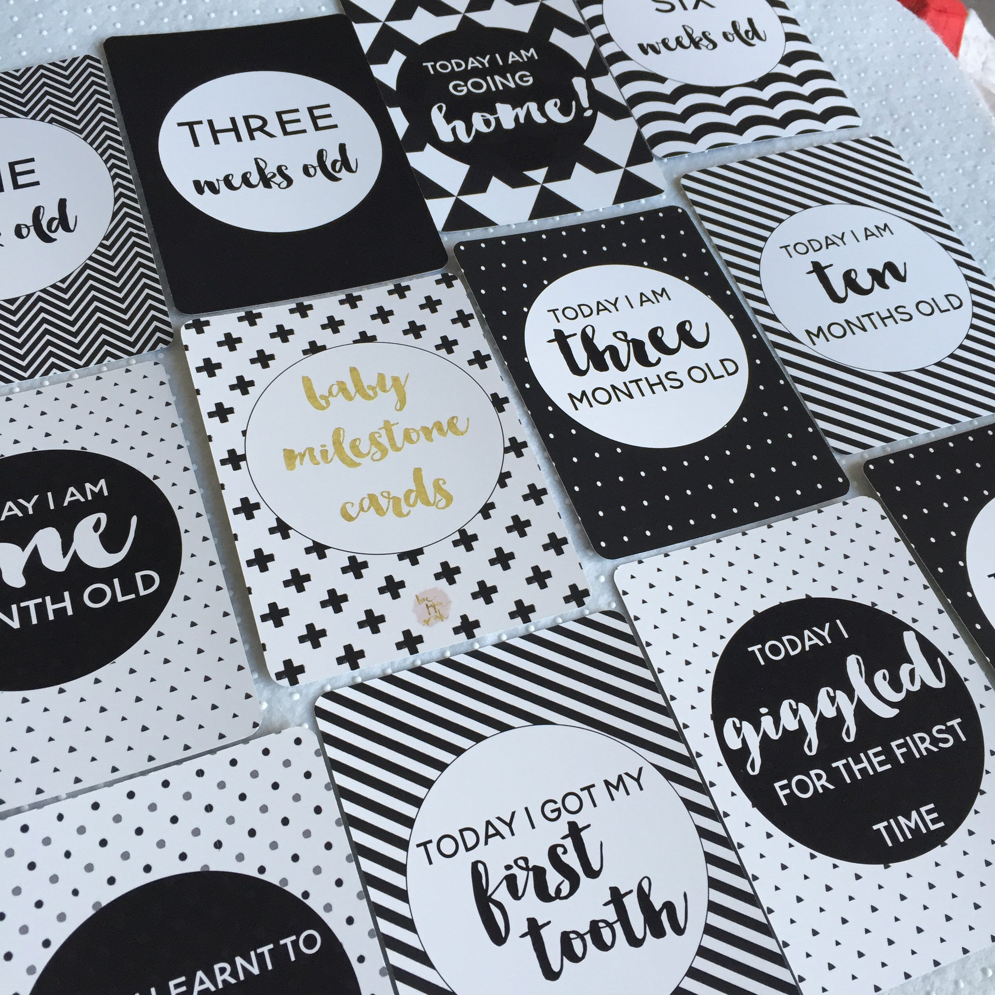Baby Milestone Cards |  Classic Collection |  Monochrome Stylish Baby Milestone Cards + Baby Announcement Baby Wraps + swaddles - - AfterPay - Free Shipping - lovepaperink.com.au