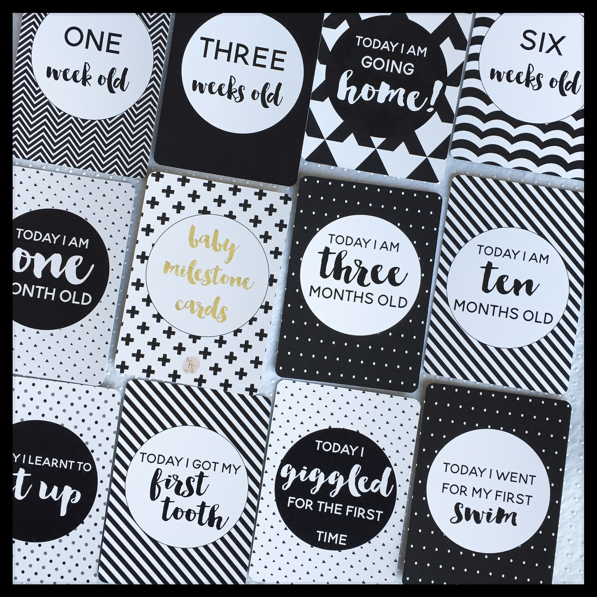Baby Milestone Cards |  Classic Collection |  Monochrome | PRE-ORDER FOR SHIPPING 22 OCTOBER Stylish Baby Milestone Cards + Baby Announcement Baby Wraps + swaddles - - AfterPay - Free Shipping - lovepaperink.com.au