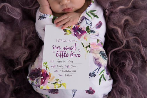 Birth Announcement Card |  Luxe Collection |  Harvey Rose Stylish Baby Milestone Cards + Baby Announcement Baby Wraps + swaddles - - AfterPay - Free Shipping - lovepaperink.com.au