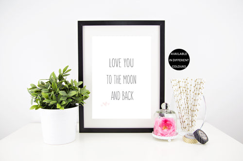Love You To The Moon Wall Print Stylish Baby Milestone Cards + Baby Announcement Baby Wraps + swaddles - - AfterPay - Free Shipping - lovepaperink.com.au