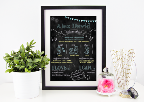 Classic Blue - Personalised Birthday Chalkboard - Stylish Baby Milestone Cards + Baby Announcement Baby Wraps + swaddles. Global Shipping lovepaperink.com.au