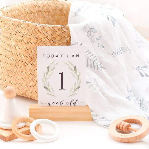 Matching Organic Muslin Wrap + Milestone Cards // Wild Fern // Stylish Baby Milestone Cards + Baby Announcement Baby Wraps + swaddles - - AfterPay - Free Shipping - lovepaperink.com.au