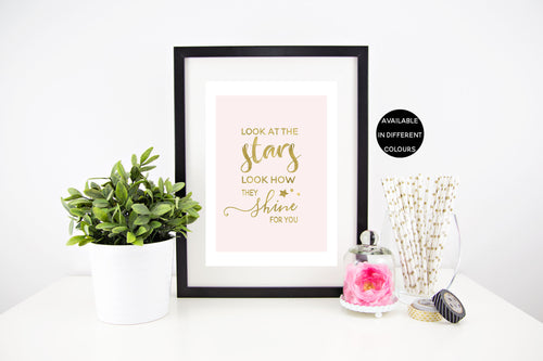 Look At The Stars Wall Print - Stylish Baby Milestone Cards + Baby Announcement Baby Wraps + swaddles. Global Shipping lovepaperink.com.au