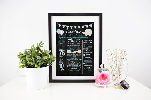 Chevron Elephants (blue) - Personalised Birthday Print - Stylish Baby Milestone Cards + Baby Announcement Baby Wraps + swaddles. Global Shipping lovepaperink.com.au