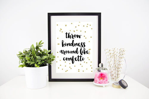 throw kindness like confetti - Stylish Baby Milestone Cards + Baby Announcement Baby Wraps + swaddles. Global Shipping lovepaperink.com.au