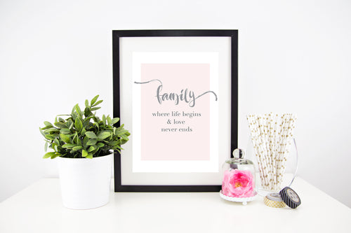 Family Love Wall Print Stylish Baby Milestone Cards + Baby Announcement Baby Wraps + swaddles - - AfterPay - Free Shipping - lovepaperink.com.au