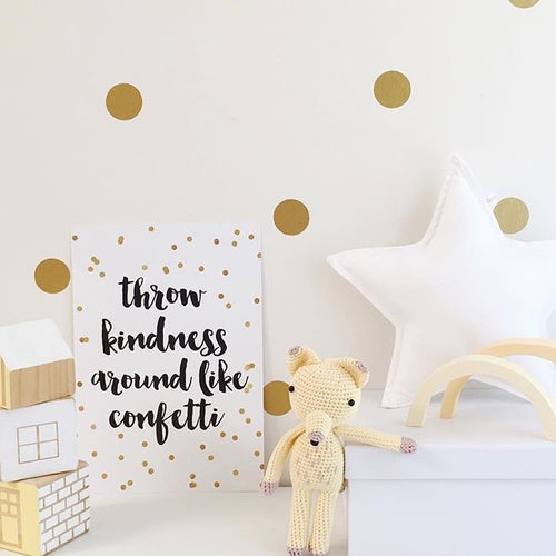 throw kindness like confetti Stylish Baby Milestone Cards + Baby Announcement Baby Wraps + swaddles - - AfterPay - Free Shipping - lovepaperink.com.au