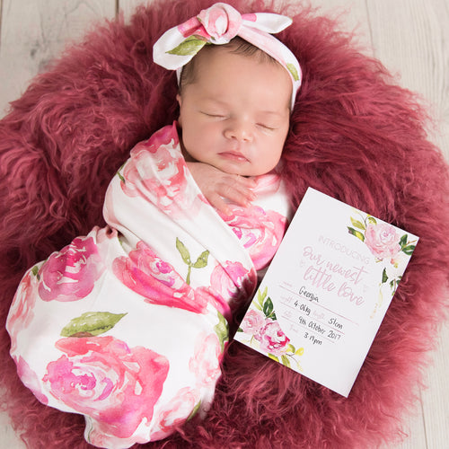 Matching Baby Wrap + Milestone Cards Set   |   The Sunset Rose Stylish Baby Milestone Cards + Baby Announcement Baby Wraps + swaddles - - AfterPay - Free Shipping - lovepaperink.com.au