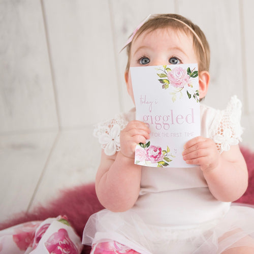 Matching Baby Wrap + Milestone Cards Set   |   The Sunset Rose - Stylish Baby Milestone Cards + Baby Announcement Baby Wraps + swaddles. Global Shipping lovepaperink.com.au