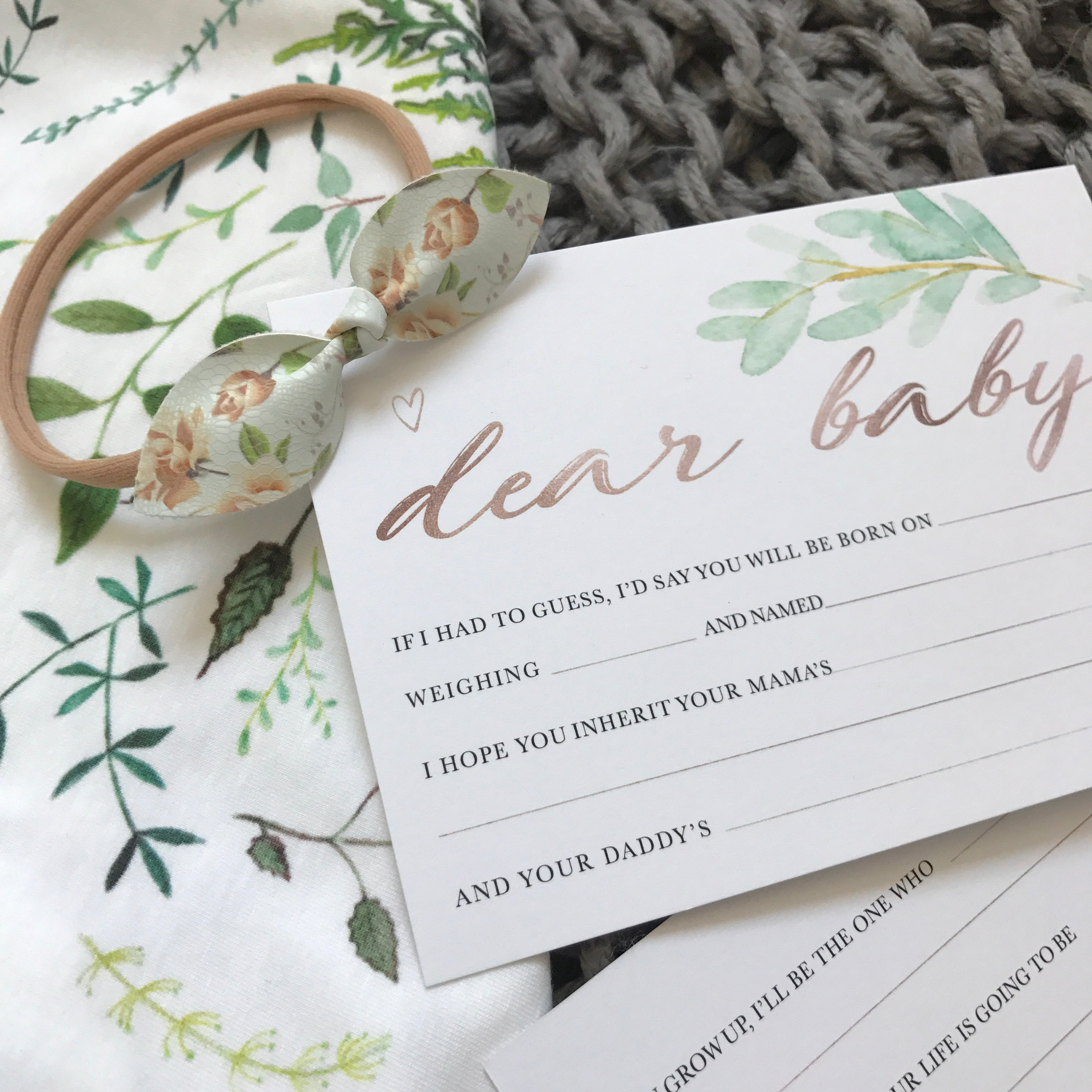 """Dear Baby..."" Keepsake Cards Stylish Baby Milestone Cards + Baby Announcement Baby Wraps + swaddles - - AfterPay - Free Shipping - lovepaperink.com.au"