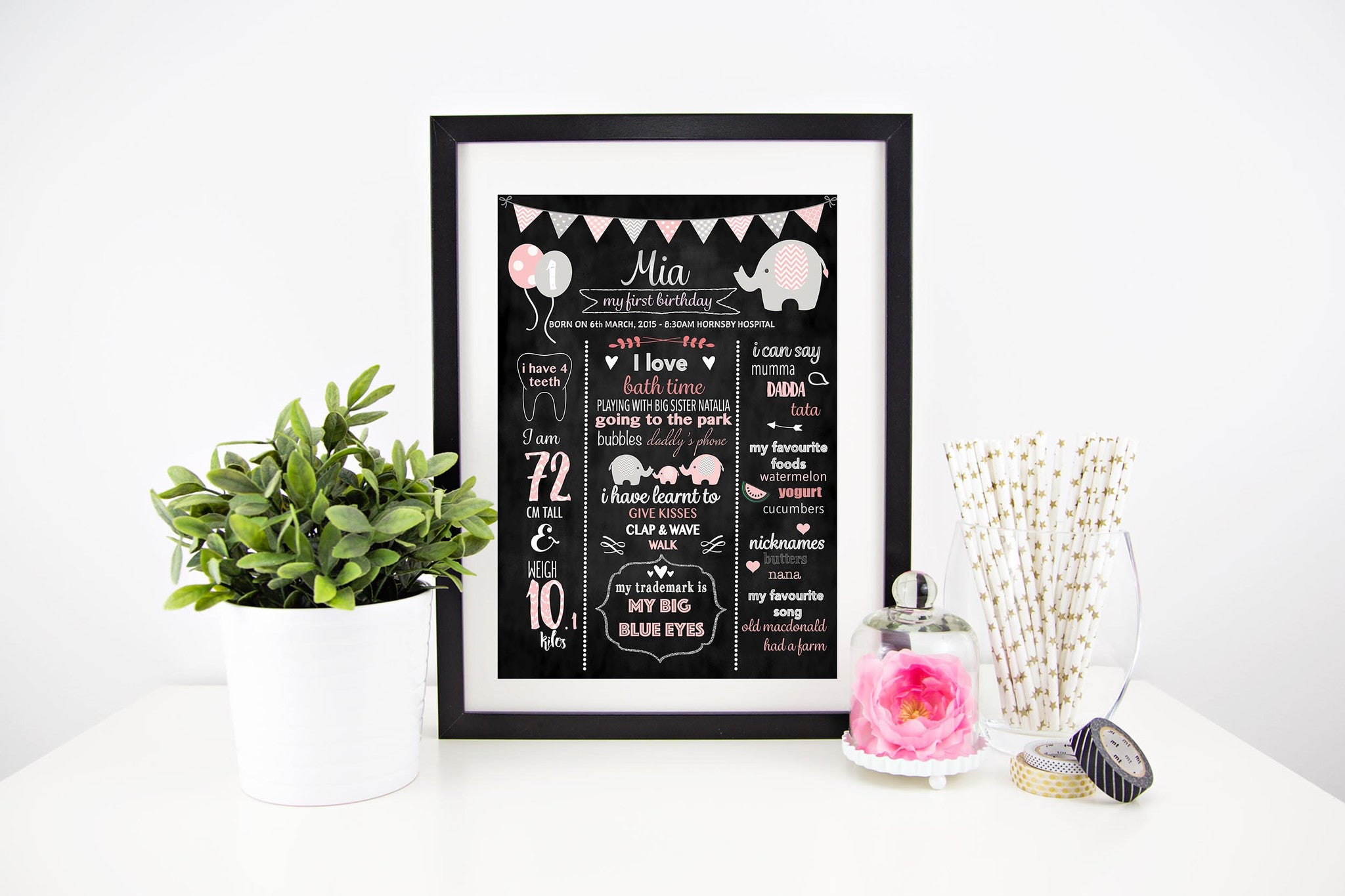 Chevron Elephants (pink) - Personalised Birthday Chalkboard Stylish Baby Milestone Cards + Baby Announcement Baby Wraps + swaddles - - AfterPay - Free Shipping - lovepaperink.com.au