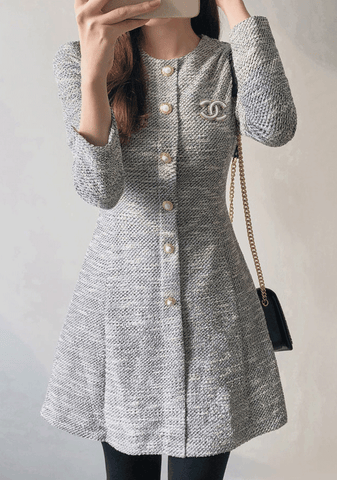 Tweed Cubic Button Dress