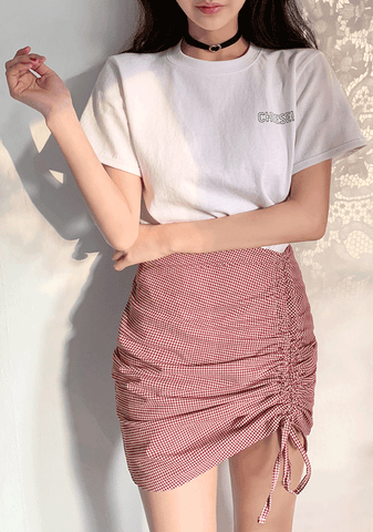 Shirring Pointed Mini Skirt In Check