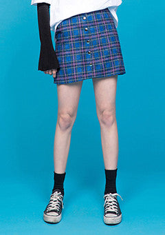 Tight A Line Button Skirt In Check
