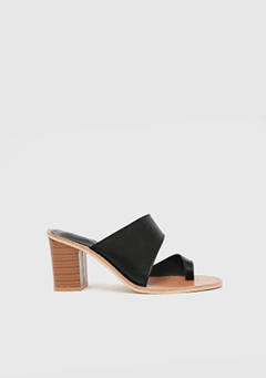 Black Strap Wood Heel