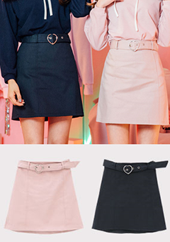 Your Lovely Heart Belted Skirt