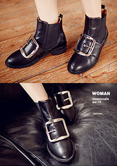 Belt Decorated Ankle Boots