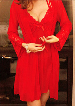 Red Slip+Night Gown Set-Red