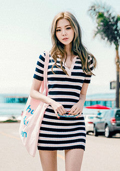 Pique Color Stripes Knitted Dress