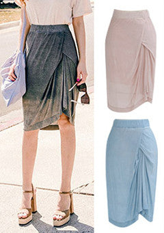 Side Drape Wrap Midi Skirt