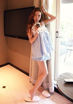 Lace And Frill Singlet Two Piece Pajama Set