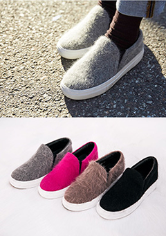 Furry Slip On Shoes
