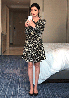 Dot Print Wrap Dress