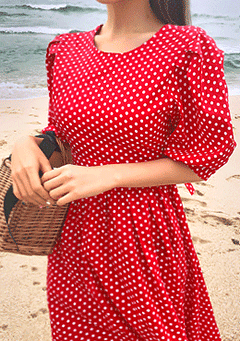 Sunshine Dotted Puff Sleeve Dress