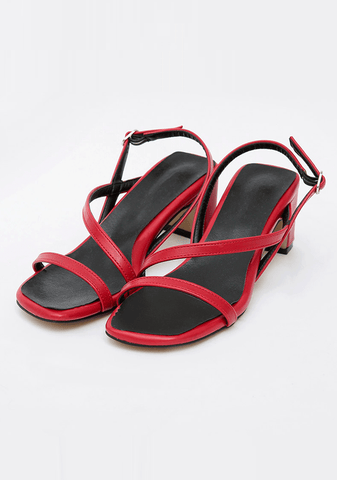 Shiny Faux Leather Sandals 6.5cm