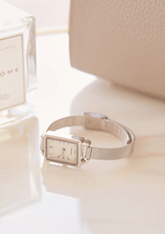 Square Silver Mesh Band Watch