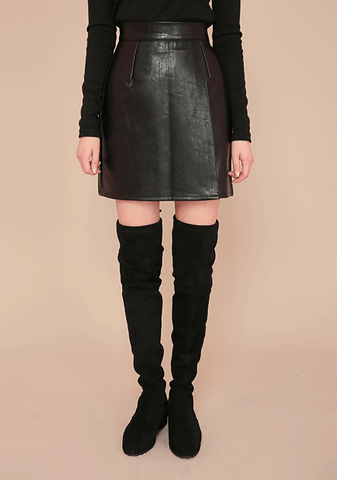 Front Wrap Leather Skirt